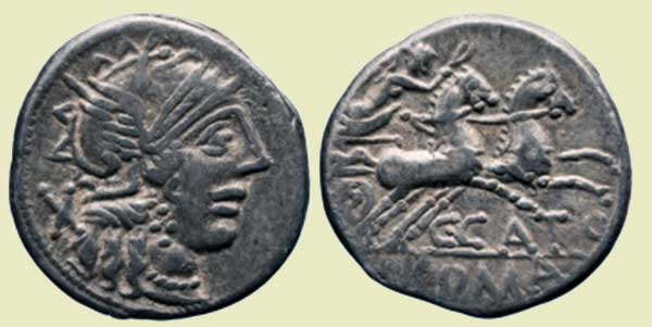 Silver coin of Marcus Porcius Cato