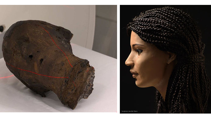 The 2,000 year-old mummified head of an Egyptian woman has been restored using modern day technology