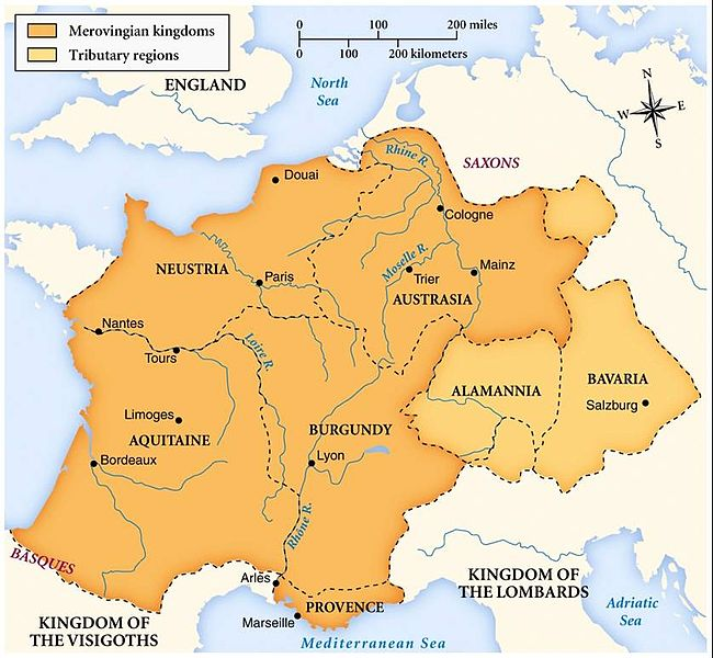 Map of Merovingian dynasty.