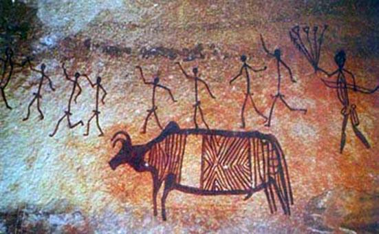 Mesolithic art. Image source: vm.kemsu.ru/en/mezolith/bhimpet.html