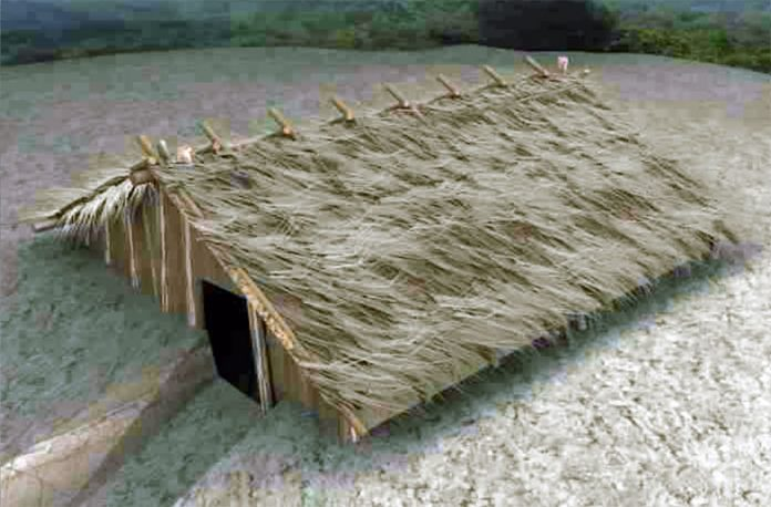 Reconstruction of neolithic dugout shelter.