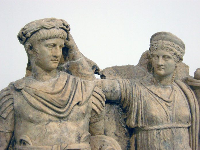 Sculpture of Agrippina crowning her young son Nero