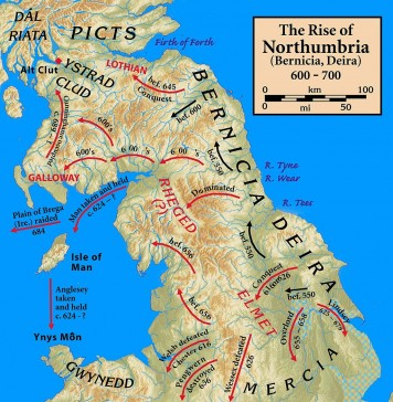 Map of Northumbria 600-700 AD.