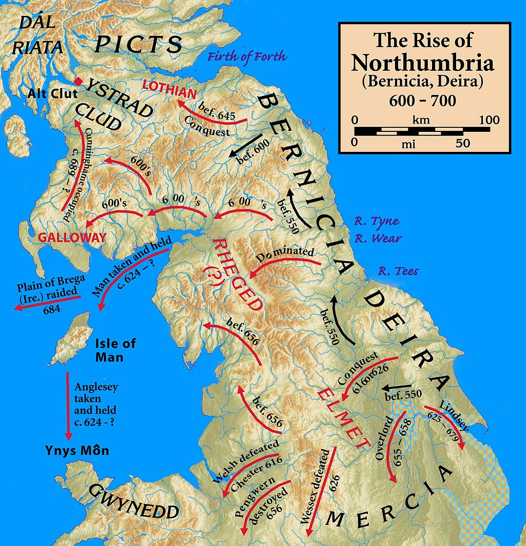 Map Of Northumbria Northumbria 600 768 | Short history website