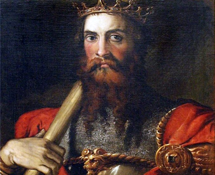 Portrait of Ostrogothic king Totila (541-552) by painter Francesco Salviati (XVI century)
