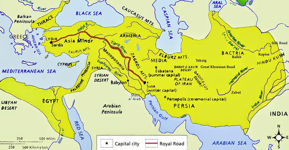 Royal road of the Persian empire arround VI century BC.
