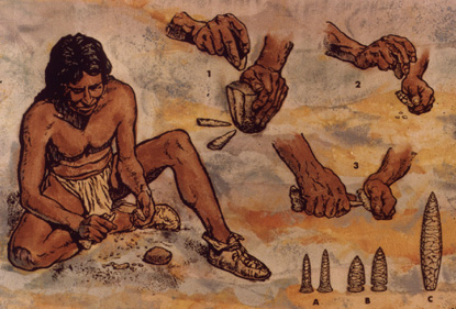 Tools and weapons production technique  in Old stone age