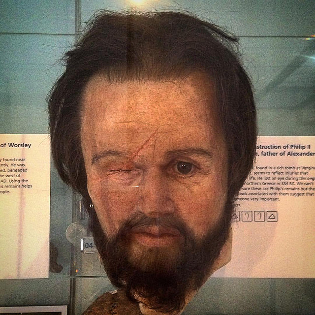 Facial reconstruction of Philip II of Macedon. Image from: https://www.flickr.com/photos/86012097@N08/20716315698