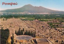 Ruins of Pompeii from old postcard.