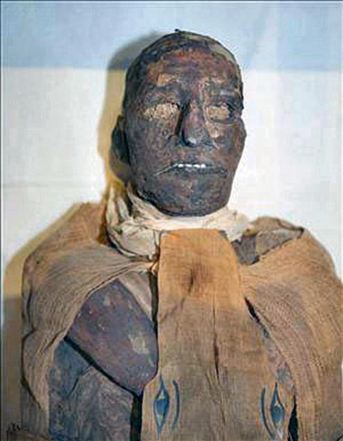 The mummy of Ramses III, killed by conspirators.