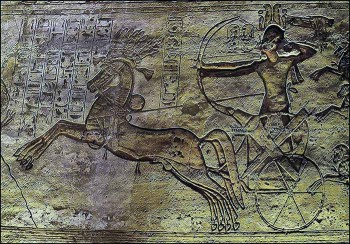Relief showing Ramses II at the Battle of Kadesh.