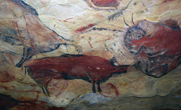 "Reproduction of paleolithic art from Altamira cave. Location of reproducation: ""Deutsches Museum"" Munich"