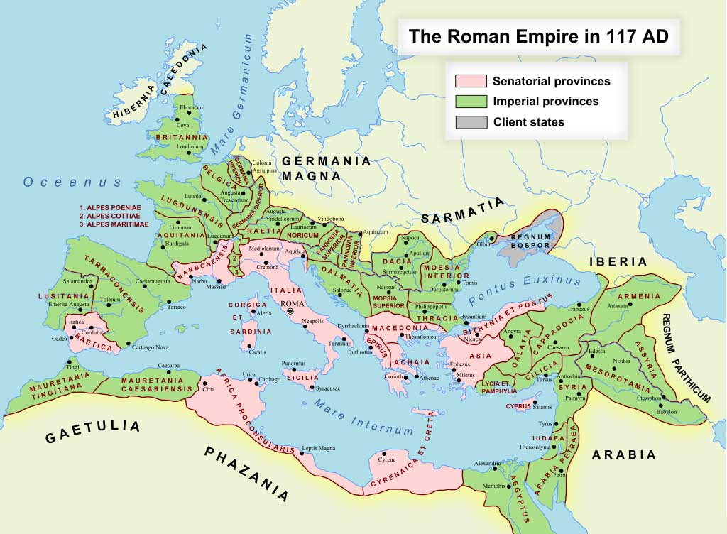 Map of Roman Empire during Antonine dynasty.