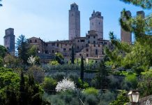Medieval city San Gimignano in Tuscany, southwest of Florence.
