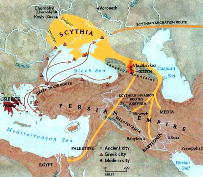 Scythia and Persian empire map