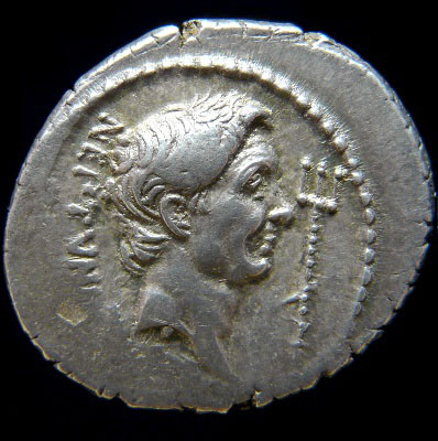 Sextus Pompey portrait on the coin side.