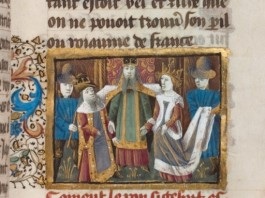 Parchment from 15 century showing mariage of Sigebert and Brunhilda. Curent location: Bibliothèque nationale de France