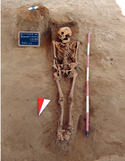 Skeleton found in grave under the church Casal Bernocchi