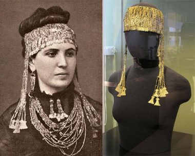 On the left side Sophia Schliemann wears golden jewelry, the part of so called Priam treasure. Right side is modern view of the golden diadem. The mostly of those artifacts are currently in the Pushkin Museum in Moscow.