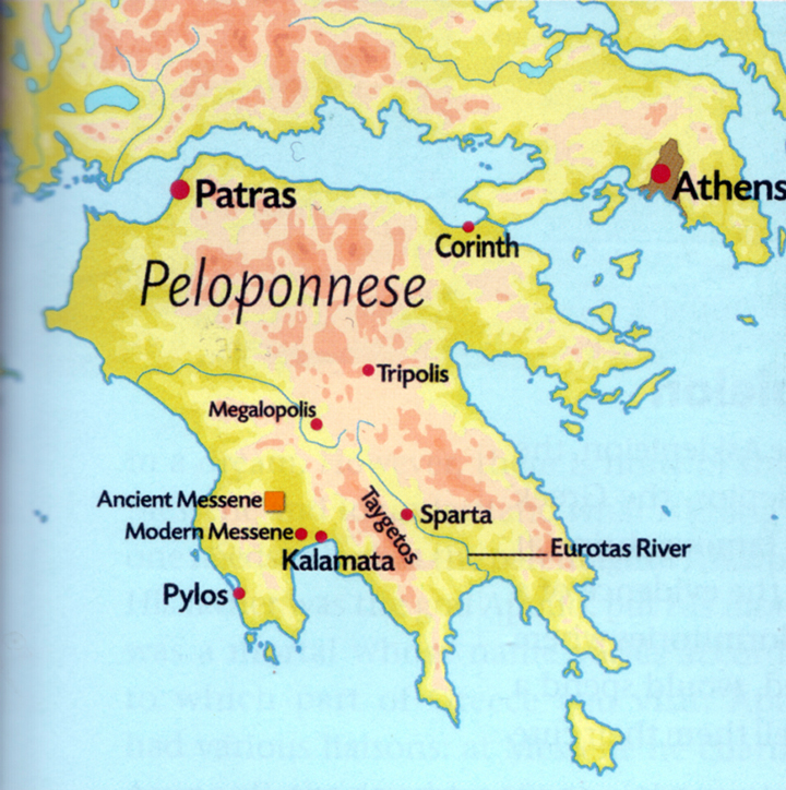 Map of Peloponnese and Sparta