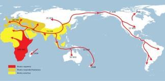 Spreading prehistoric humans. Map: https://commons.wikimedia.org/wiki/File:Spreading_homo_sapiens_la.svg