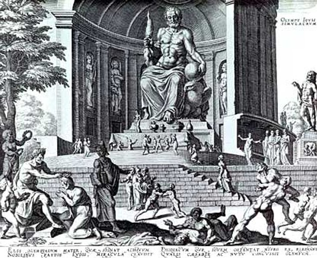A fanciful reconstruction of Phidias' statue of Zeus, in an engraving made by Philippe Galle in 1572, from a drawing by Maarten van Heemskerck. www.en.wikipedia.org/wiki/Statue_of_Zeus_at_Olympia#/media/File:Statue_of_Zeus.jpg