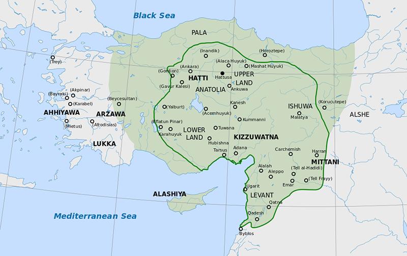Map of Hittite empire during Suppiluliuma I rule.