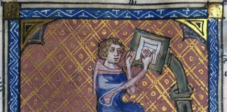 The-author-of-a-manuscript-at-his-writing-desk-14th-Century-