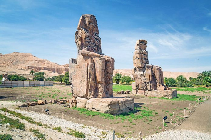 The Colossi of Memnon at Madīnat Habu in Thebes, Egypt