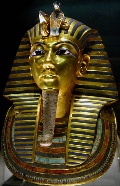 The golden death mask of the Tutankhamun at The Egyptian Museum in Cairo.