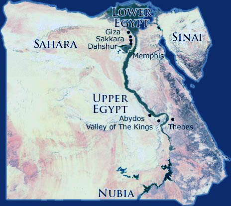 Upper and Lower Egypt map