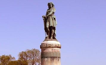 Vercingetorix statue near the village of Alise-Sainte-Reine in France.