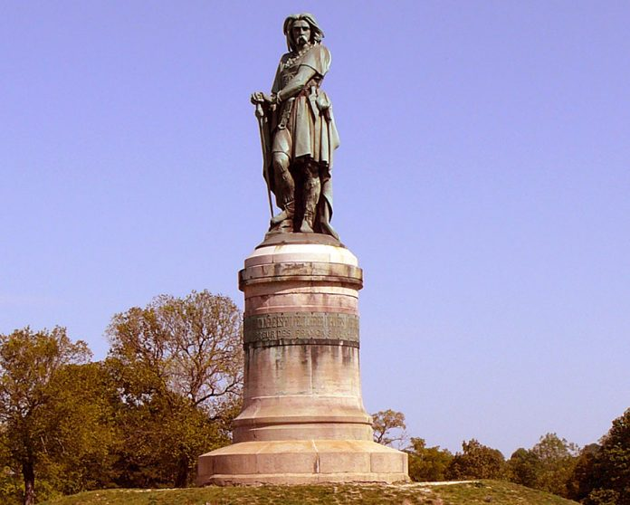 Vercingetorix statue near the village of Alise-Sainte-Reine in France.