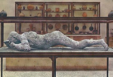 The body of the victim in Pompeii after the eruption of Mount Vesuvius 79 AD.