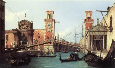 View of the entrance to the Venetian Arsenal by painter Canaletto 1732