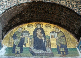 Mosaic in Haghia Sophia showing Virgin Mary and the Emperors Justinian and Constantine