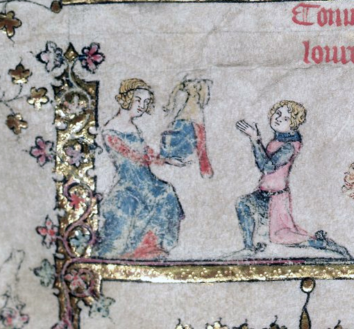 Women and Romances: Medieval Lady Presenting Helmet to Knight