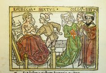 Woodcut illustration of the rape of Lucretia by Sextus Tarquinius (artist Zainer Johannes, XVI century)