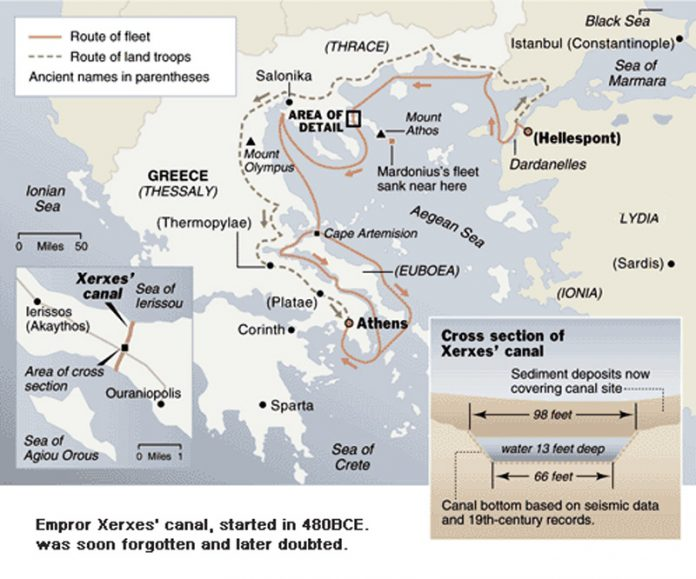 "A map showing Xerxes invasion of Greece. Source of map: ""www.cais-soas.com/News/2001/November2001/13-11.htm"""