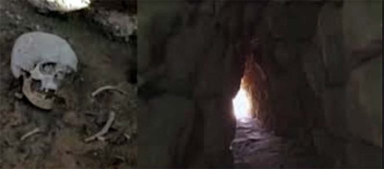 Secret passage and skeleton from Hittite period founding in Turkey