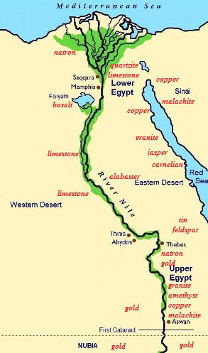 Ancient Egypt map within Thinis location