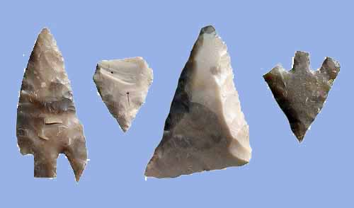 Different types of microliths, mesolithic weapons.