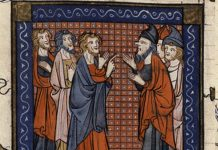 Illustration of medieval communication by Jacobus da Varagine (13th century)