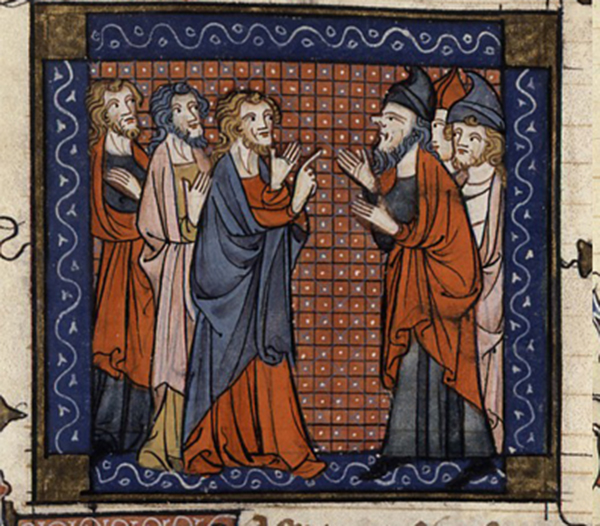 Illustration of medieval communication by Jacobus da Varagine (13th century)