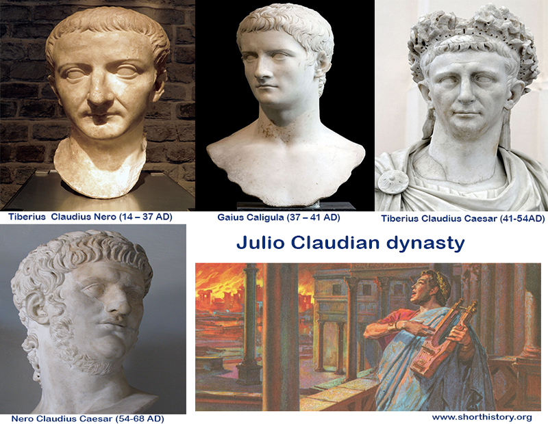 julio claudian emperors Julio-claudian dynasty the julio-claudian dynasty was composed of the iulii caesares and the claudii nerones, two distinguished patrician families in the waning days of the old republic.