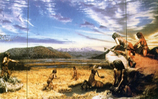 Example of hunting scene in Old stone age.