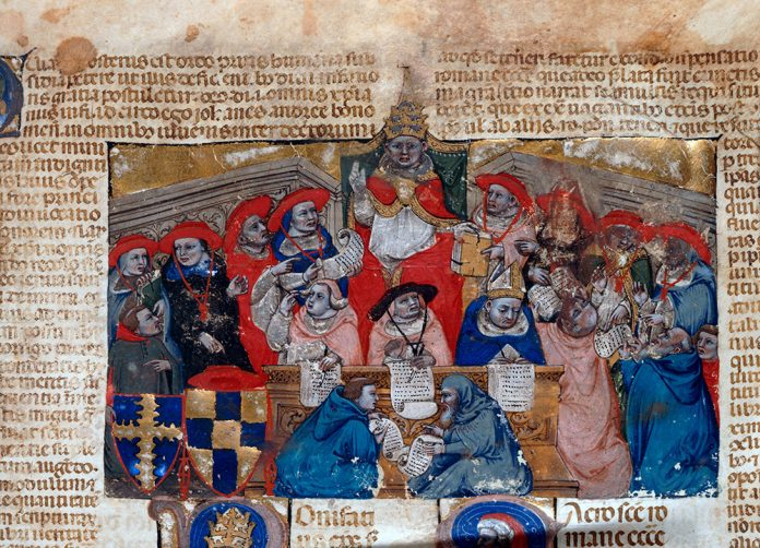 Pope Boniface VIII consulting his cardinals (manuscript from 14 century)