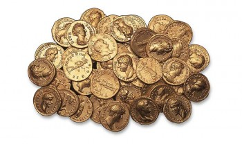Roman coins excavated in London.