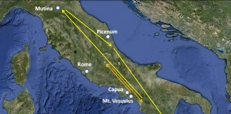 Map of Third servile war in Roman republic. Source of map: www.mikeanderson.biz/2012/02/spartacus-and-slave-revolt-of-73-71-bc.html
